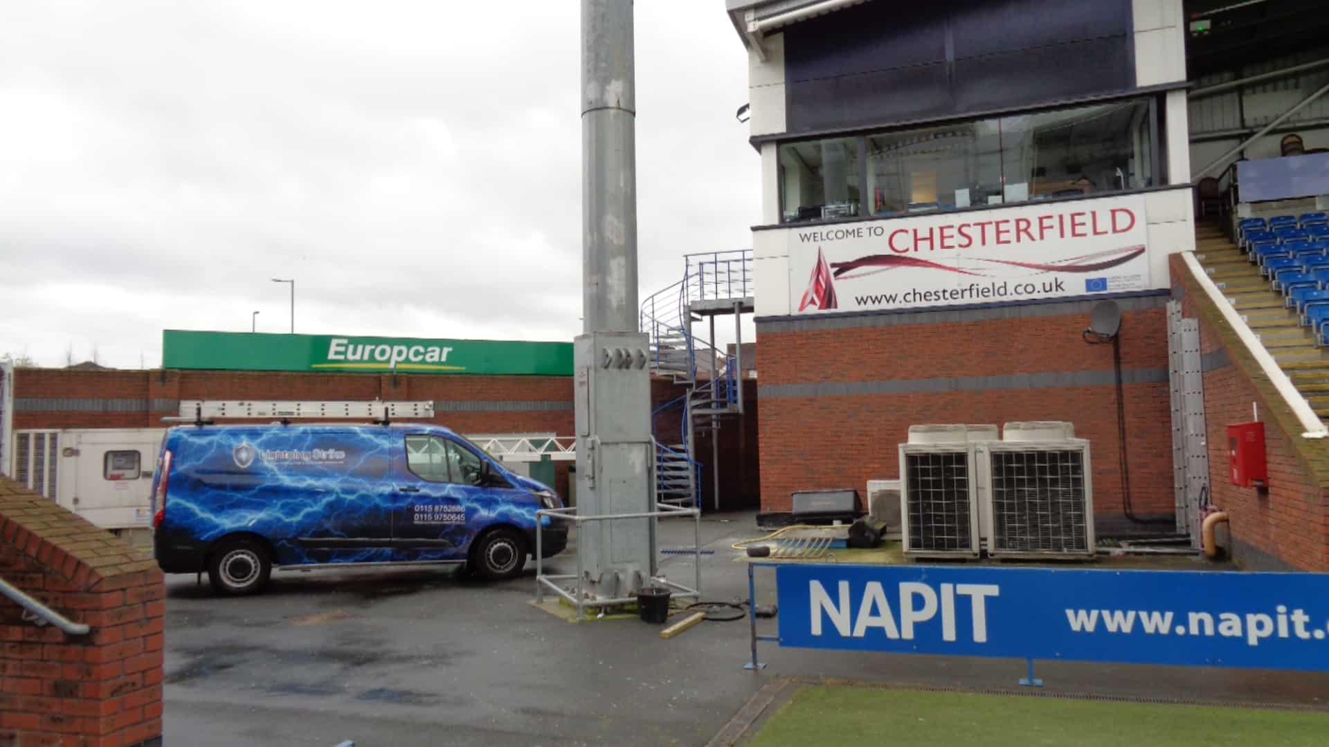 Lightning Strike Van at Chesterfield FC
